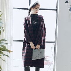 Hanme - Printed Loose-Fit Tweed Coat