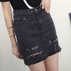 Honey House - Distressed Denim Skirt
