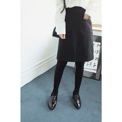 CHERRYKOKO - Dual-Pocket Pinstripe Wool Blend Skirt