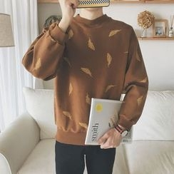 Mitouomo - Leaf Print Pullover