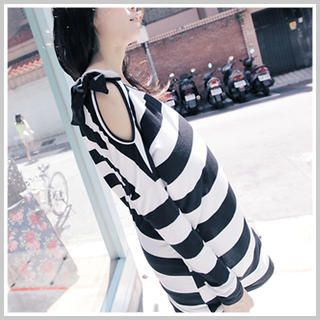 Clair Fashion - Bow-Accent One-Shouldered Striped Long Top