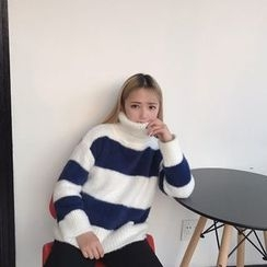 Bloombloom - Striped Turtleneck Furry Sweater