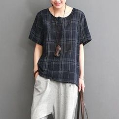 Ranche - Plaid Short-Sleeve Linen Cotton Top