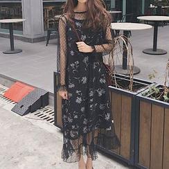 Dute - Set: Floral Print Slipdress + Dotted Long Sleeve Mesh Dress