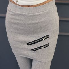 DANI LOVE - Inset Skirt Brushed-Fleece Lined Leggings