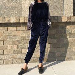 Baliz - Set: Embroidered Velvet Long Sleeve Top + Sweatpants