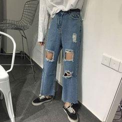 MePanda - Ripped Wide Leg Jeans