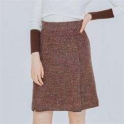 MAGJAY - Wool Blend Zip-Back Tweed Skirt