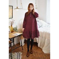 GOROKE - Mandarin-Collar Ruffle-Hem Polka-Dot Dress