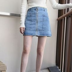 MePanda - Zip Front A-Line Denim Skirt