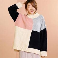 MAGJAY - Mock-Neck Color-Block Knit Top