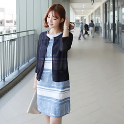 CLICK - Open-Front 3/4-Sleeve Cardigan