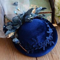 Ashmi - Clip Hat with Tulle Veil Headpiece