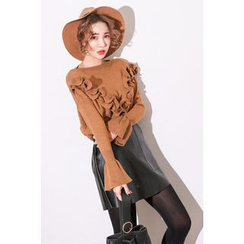 PPGIRL - Round-Neck Frilled-Trim Knit Top