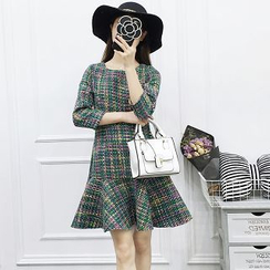 Be Bonita - 3/4-Sleeve Tweed Ruffle Dress