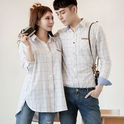 DANGOON - Couple Pocket-Front Checked Cotton Shirt