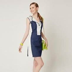 O.SA - Sleeveless Denim-Panel Lace Dress