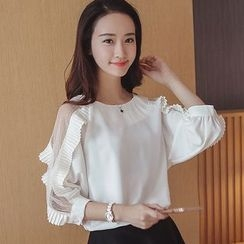 Cherry Dress - Frilled Trim Panel Chiffon Blouse