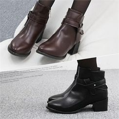 Reneve - Block-Heel Belted Ankle Boots