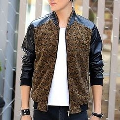Evzen - Jacquard Print Panel Faux Leather Jacket