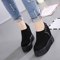 Anran - Studded Hidden Wedge Platform Shoes