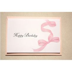 Full House - woodcard - Bow-Print Greeting Card