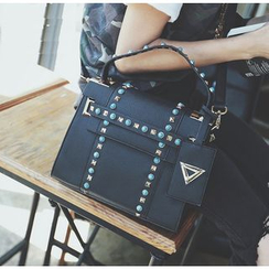 Youshine - Studded Faux Leather Shoulder Bag