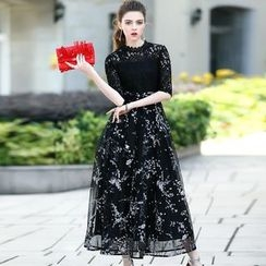 洛圖 - 蕾絲拼接長連衣裙