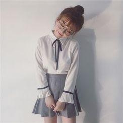 Tiny Times - Bow Blouse / Long Knit Vest