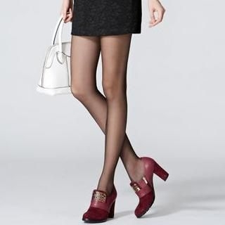 O.SA - Metal Perforated Chunky-Heel Pumps