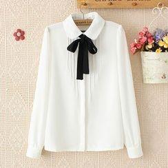 PANDAGO - Tie Neck Pintuck Chiffon Shirt