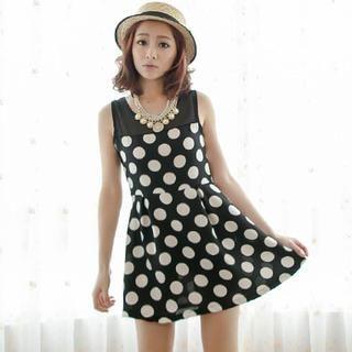 BaseZoo - Tulle-Panel Sleeveless Patterned Dress