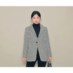 HOTPING - Single-Breasted Pattern Jacket