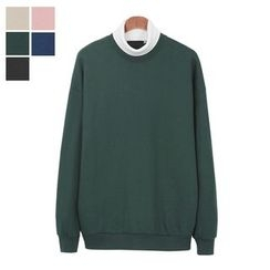 DANGOON - Contrast Turtle-Neck Cotton Pullover