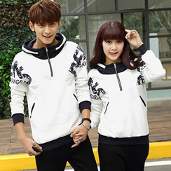 Igsoo - Set: Couple Letter Hoodie (Top + Pants)