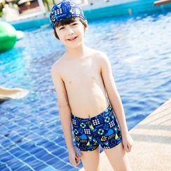 Mermaid's Tale - Kids Printed Swim Shorts + Swim Cap