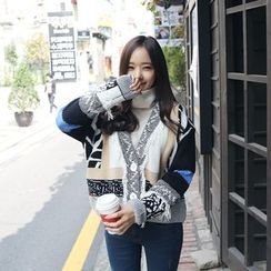 Envy Look - V-Neck Patterned Knit Jacket