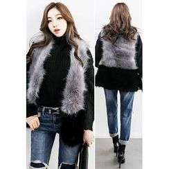 INSTYLEFIT - Open-Front Color-Block Faux-Fur Vest