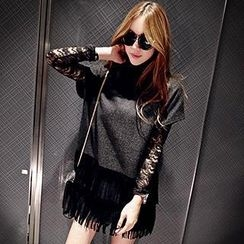 Linda Fashion - Set: Fringed Loose-Fit Top + Lace Top