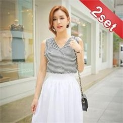 Styleberry - Set: Sleeveless Striped Top + Band-Waist Perforated Midi Skirt