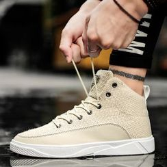 Chariot - High Top Canvas Lace-Up Sneakers