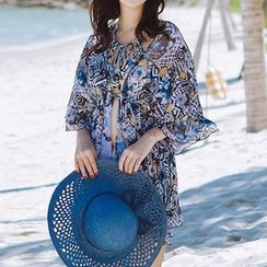Zeta Swimwear - Set: Patterned Bikini + Cover-Up