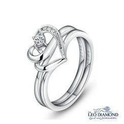 Leo Diamond - The Blissful Ring Collection - 18K White Gold Double Heart-Shaped Diamond Engagement Wedding Ring