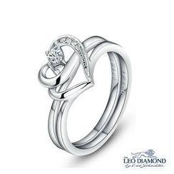 Leo Diamond - 幸福指环钻饰系列 - 18K白色黄金心形钻石拍套戒指