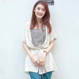 OrangeBear - Inset Striped Top Cardigan