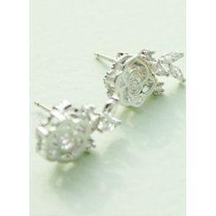 kitsch island - Rhinestone Floral Earrings