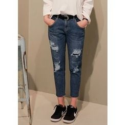 J-ANN - Distressed Baggy-Fit Jeans
