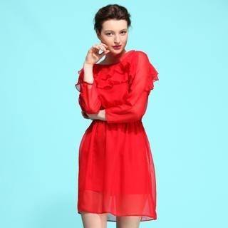 Le Teresa - Long-Sleeve Ruffle Chiffon Dress