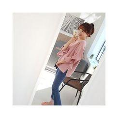 LEELIN - Ruffle-Sleeve Sweatshirt