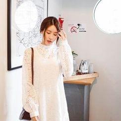 mimi&didi - Pleated-Hem Lace Dress